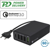 Бързо Зарядно Станция, 4SMARTS 220v Voltplug Fast Charger/ Power Delivery PPS 60w, Черен
