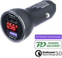 Бързо Зарядно за Кола, 4SMARTS 12v Voltroad 7P Fast Charger/ Super Charger 30w Display, Сив