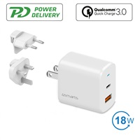 Бързо Зарядно за iPhone 12/11 Pro, 4SMARTS 220v Voltplug PD/QC 3.0 18w, Бял