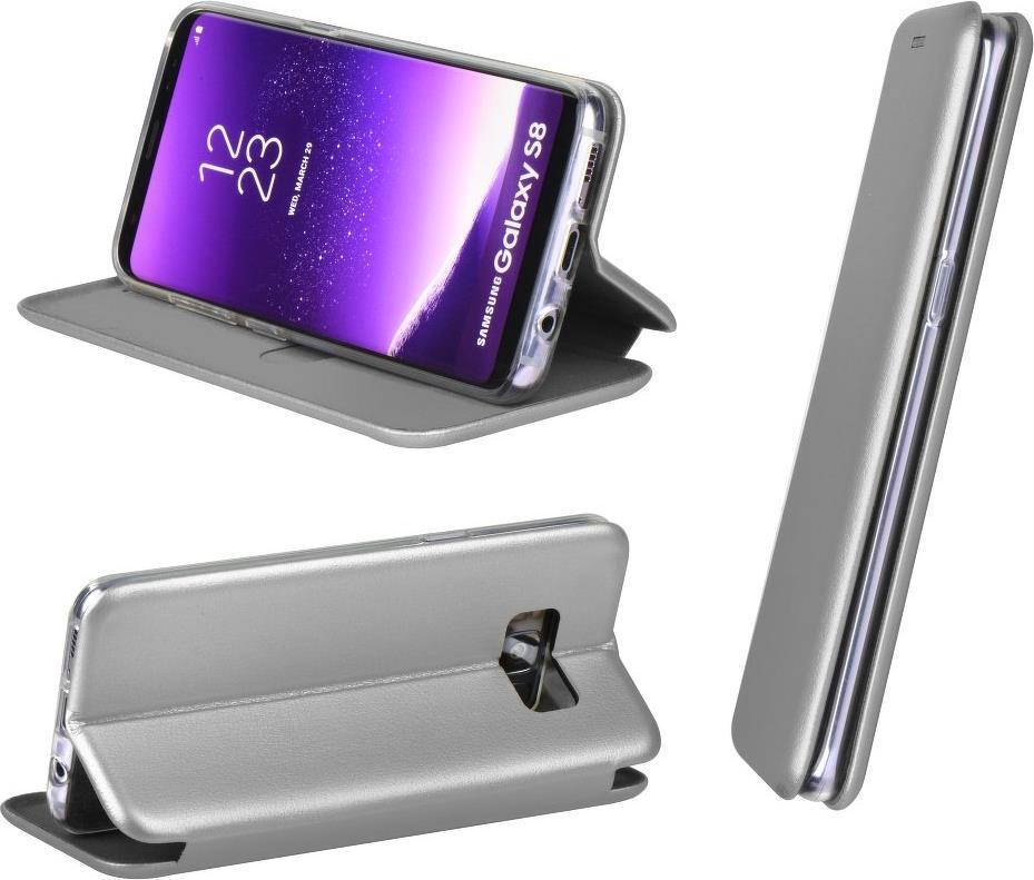 Кожен Калъф за HUAWEI P9 Lite Mini, FORCELL Elegance Book Case, Сив