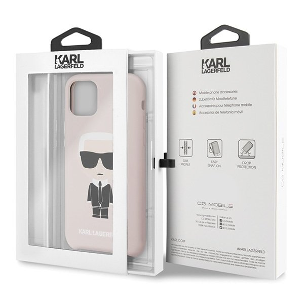 Луксозен Калъф за iPhone 11, KARL LAGERFELD Silicone Iconic Case, Розов