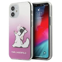 Луксозен Калъф за iPhone 12 Mini, KARL LAGERFELD Choupette Fun Case, Розов