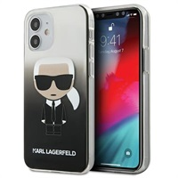 Луксозен Калъф за iPhone 12 Mini, KARL LAGERFELD Gradient Iconik Case, Черен