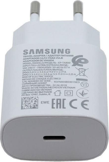 Оригинално Бързо Зарядно за SAMSUNG 220v Super Fast Charger USB-C Ep-Ta800ewe Note 10 Plus/A80/A70 25W Бял (Bulk)