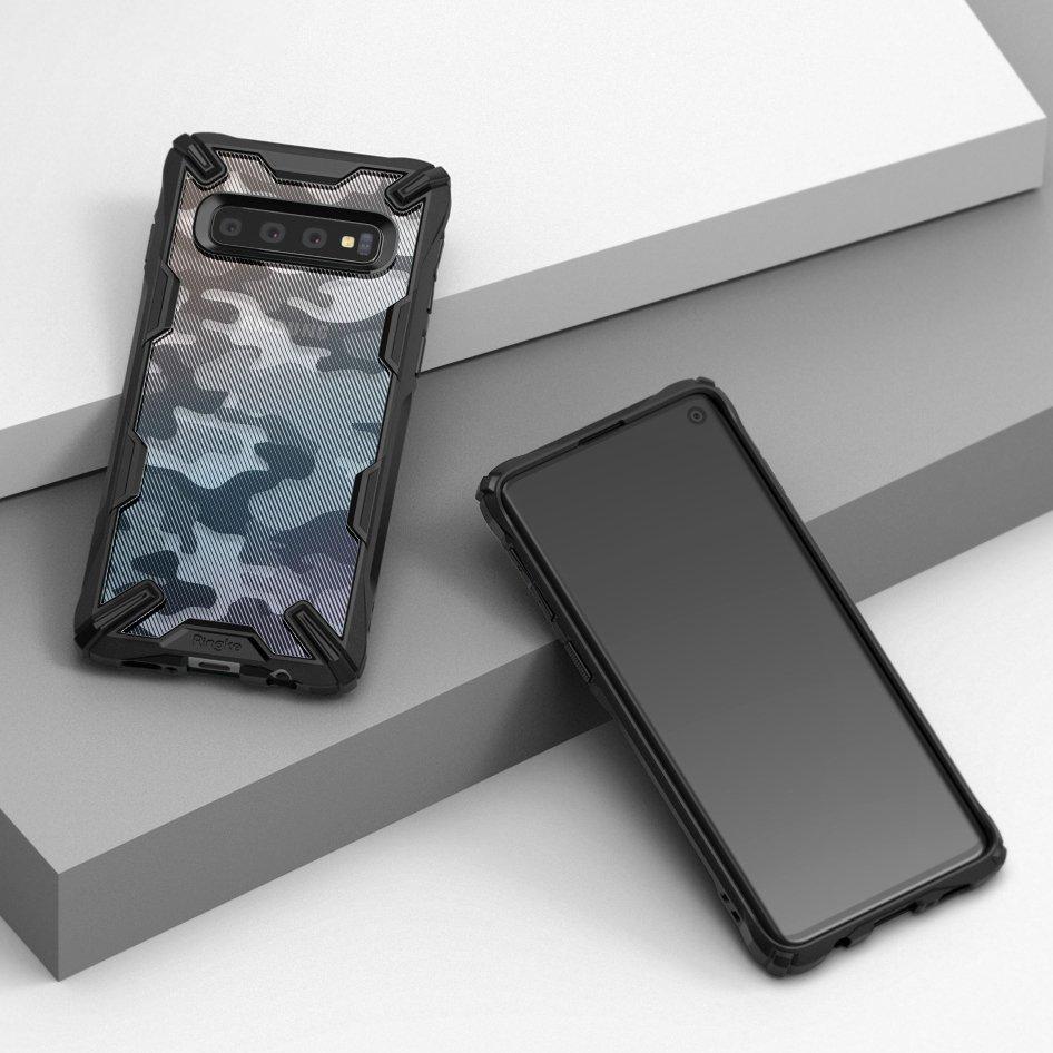 Противоударен Хибриден Калъф за SAMSUNG S10, RINGKE Fusion X Camouflage Case, Черен