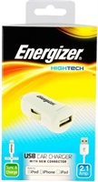 Зарядно за iPhone за Кола, ENERGIZER 12V Charger & Cable Lightning 1m, Бял